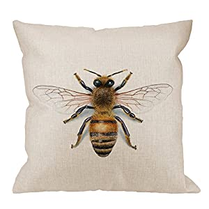 HGOD DESIGNS Bee Pillow Cover,Decorative Pillow Bees Watercolour Drawing Pillow cases Cotton Linen Outdoor Indoor Square Cushion Covers For Home Sofa couch 18x18 inch Yellow
