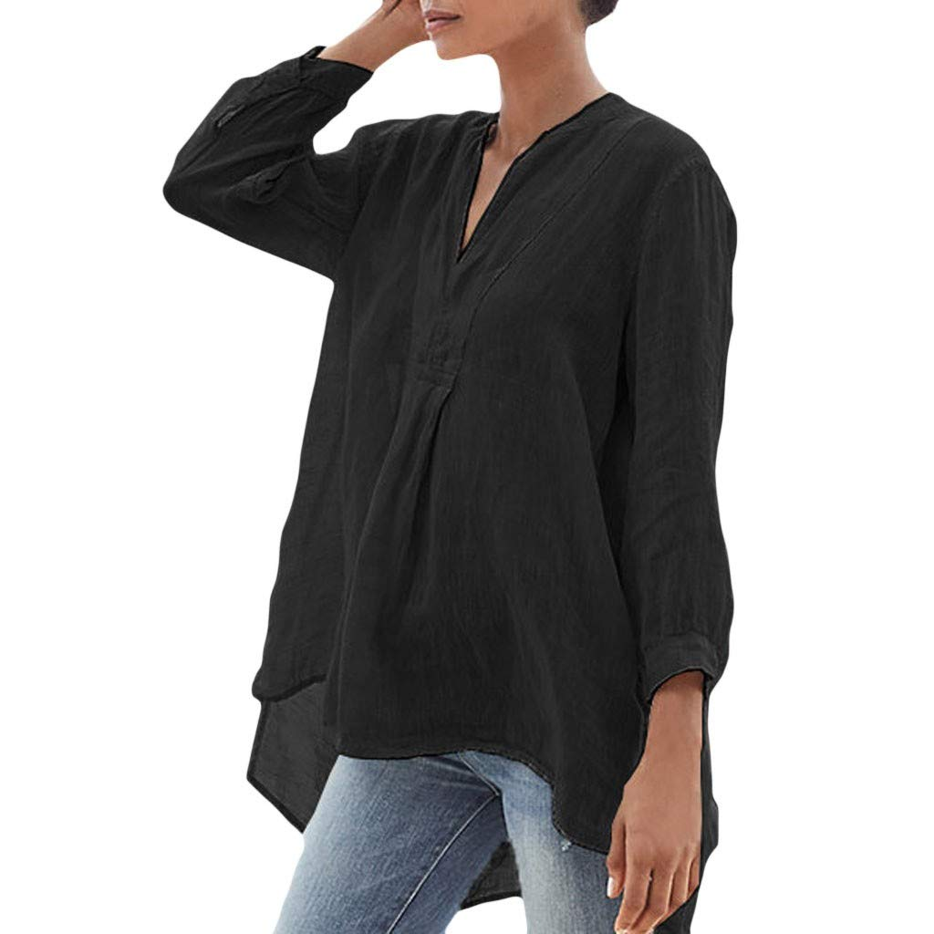 Buyao Womens Shirt Sale Cotton Linen Solid V-Neck Long Sleeve Button Down Loose Casual Tops T-Shirt