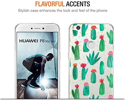 Eouine Funda Huawei P8 Lite 2017, Cárcasa Silicona 3D Transparente con Dibujos Diseño Suave Gel TPU [Antigolpes] de Protector Bumper Case Cover Fundas para Movil Huawei P8Lite 2017 (Cactus): Amazon.es: Electrónica