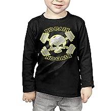 Kelmo Boy Girl Long Sleeve Tee No Pain No Gain Gym Skull CozyTshirts Black