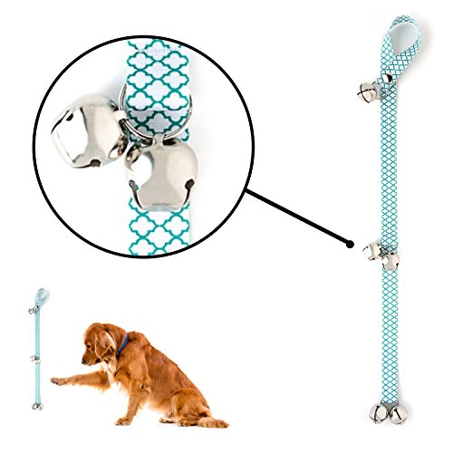 Designer Bell - Mighty Paw Tinkle Bells 2.0, Designer Dog Doorbells, Stylish Fabric with Premium Quality bells, Housetraining Doggy Door Bells for Potty Training, Includes Free Wall Hook (Kelly Green - Moroccan)