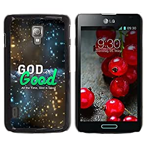 Paccase / SLIM PC / Aliminium Casa Carcasa Funda Case Cover para - BIBLE God Is Good - LG Optimus L7 II P710 / L7X P714