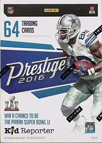 2016 Prestige NFL Football Series Unopened Blaster Box of Packs Possible Stars, Rookies, RETAIL EXCLUSIVE Inserts Including Helmet and Jersey Cards