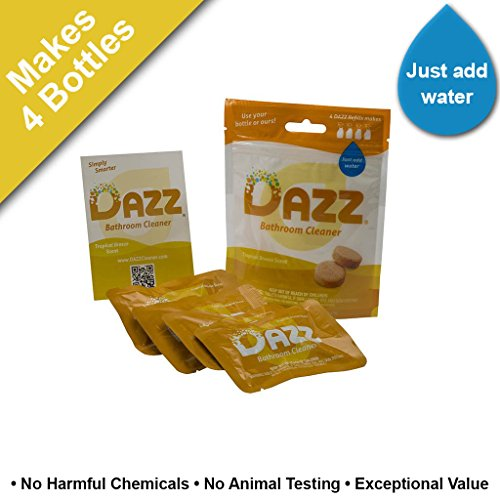 DAZZ Bathroom Cleaner Tablet Refill Pack (Makes 4-32oz Bottles) Tile, Tub Shower, Countertop and Bathroom Surfaces – All…