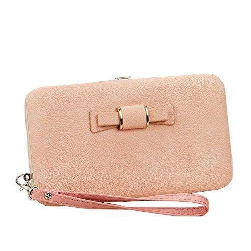 Aeeque elegante Wallet cuero imitaci de billetera Purple Purple Bowknot suave wwRHCq