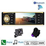 Camecho 4 Inch Car Radio Audio Stereo 1 Din Bluetooth HD Digital Car MP3 Player FM Radio with USB SD AUX Ports TFT Screen with Rearview Camera Remote Control