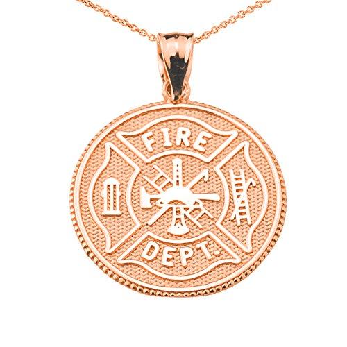 Firefighter Maltese Cross 10k Rose Gold with Prayer Blessing Pendant Necklace, 16