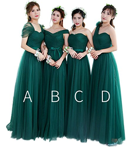 QueenBridal Country A Line Soft Tulle Bridesmaid Dresses Long Wedding Party Gown Green B