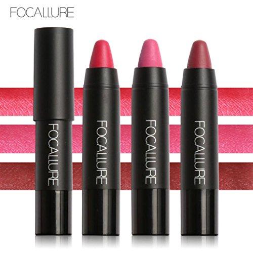 Fheaven 3Piece /Set FOCALLURE Long-lasting Red Velvet Matte Pencil Lipstick Crayon Makeup (B) ()
