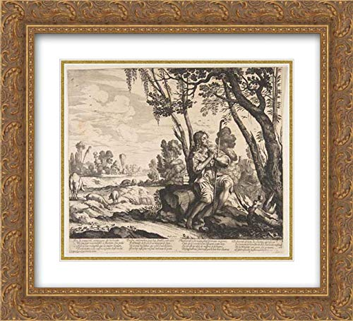 Anonymous Artist - 22x20 Gold Ornate Frame and Double Matted Museum Art Print - The Prodigal Son Guarding Pigs