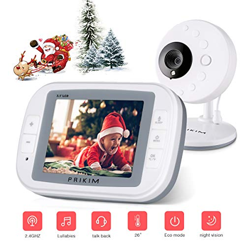 Video Baby Monitor Camera 3.5″ LCD Display w/Wireless Digital Nanny Cam PRIKIM, 2-Way Talkback, Temperature Monitoring, Infrared Night Vision, Lullabies Review