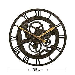 Round the clock Living room art creative modern clock Fashion retro vintage gear wall clock-E