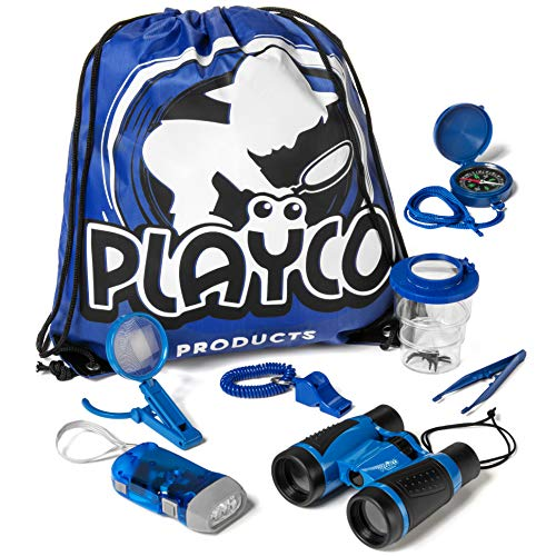 Playco Products Kids Explorer Kit - Includes Binoculars, Compass, Magnifying Glass, Flashlight, Whistle, and Bug Catching Kit - Fun Toys for Your Childrens' Next Camping, Hiking or Outdoor Adventure (Kids Fun Kit)