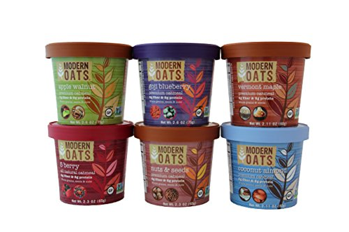 Modern Oats All Natural Oatmeal Cups - Variety Pack 2.6 oz (Pack of 12) (Rolled Steamed Oats)