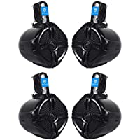 (2) Pairs of Rockville RWB65B 6.5 Black WakeBoard Tower Speakers Totaling 1000 Watt - Truly Marine Grade Withstands Salt Spray, Water, and Sunlight