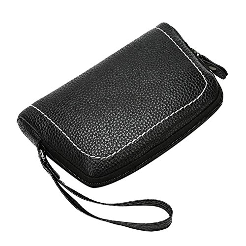 PU Coin Black widewing Women Litchi Holder Handbag Clutch Phone Zipper Pure Color Wristlet ZFfvF1aUq