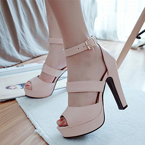 COOLCEPT Zapato Mujer New Peep Toe Talon Aiguille Tacon Alto Al Tobillo Vestir Sandalias Mini Size Rosado