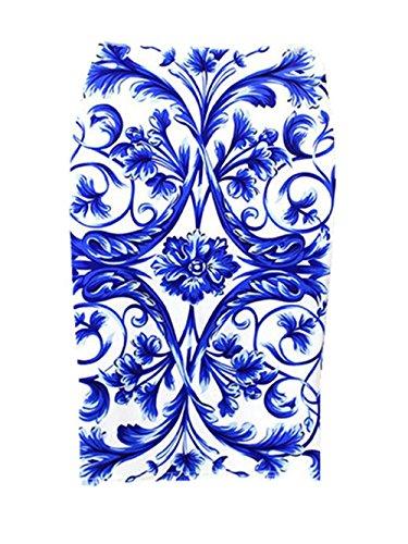 Haililais Femme Jupe Au Genou Slim Fit Jupe Imprimer Floral Vintage Femelle Skirt Taille Haute ElGant Jupe Fendue Tendance Jupe Blue3