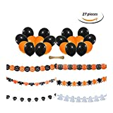 STAR-TOP Halloween Suit Bloody Weapon Plastic Horror Knife String Ornaments Garland Banner Decoration,Black and Orange Balloon (Paper Flowers)