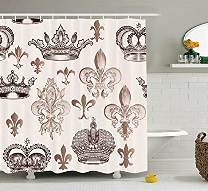Ambesonne Fleur De Lis Decor Collection Crowns And In Engraved Style Luxurious