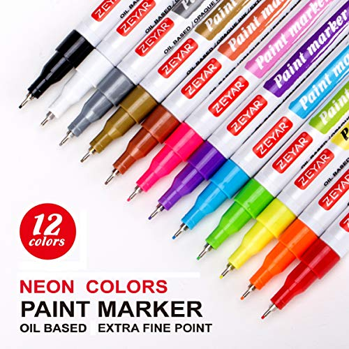 ZEYAR Paint Pens, Oil-Based, Extra Fine Point,12 Metallic and Neon Colors, Odorless, Expert of Rock Painting, Xylene Free, Metal Penholder, Professional Paint Marker Manufacturer