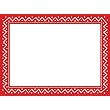 Entertaining with Caspari 87997G Zig Zag Border Photo Cards, Pack of 10, Zig Zag Red