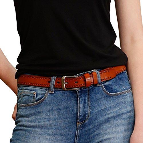 GSG Womens Stylish Vintage Genuine Leather Belt Braid Detail Pin Buckle Waist Belt M - Cognac Belt Vintage