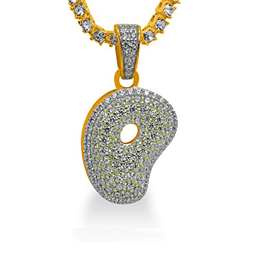 925 Sterling Silver Yellow Gold-Tone Iced Out Hip Hop Swag Bling Bubble Letter P Pendant with 20'' 1 Row Chain by iRockBling