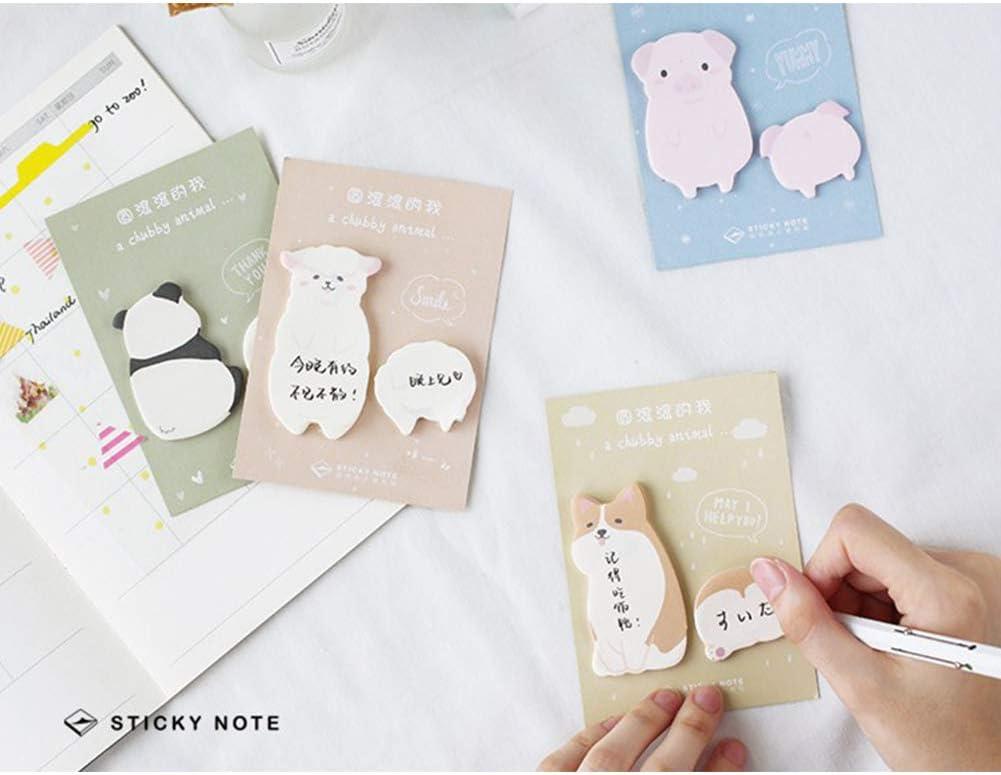 MeterMall Cartoon Corgi Pig Panda Alpaca Memo Pad Sticky Notes School Supply Corgi