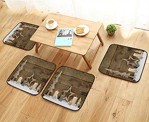 (Jiahonghome Simple Modern Chair Cushions Rustic Country Background Wood with Candles and Snowflakes for Christmas Reusable Water wash W27.5 x L27.5/4PCS Set)