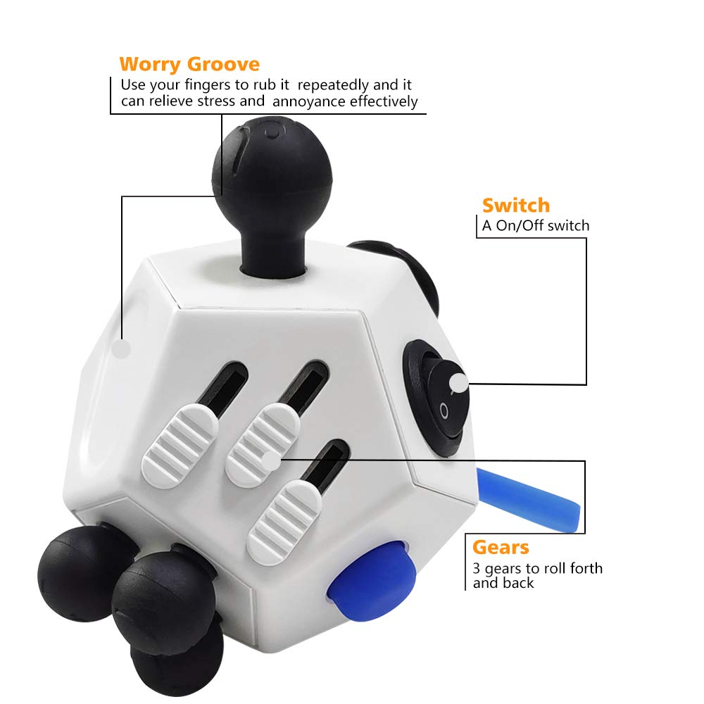 White Dodecagon Fidget Toy for Children and Adults Stress and Anxiety Relief Depression Anti Cube for All Ages with ADHD ADD OCD Autism VCOSTORE 12 Sided Fidget Cube
