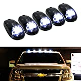 inside car lamps - iJDMTOY 5pcs White LED Cab Roof Top Marker Running Lights For Truck SUV 4x4 (Black Smoked Lens Lamps)
