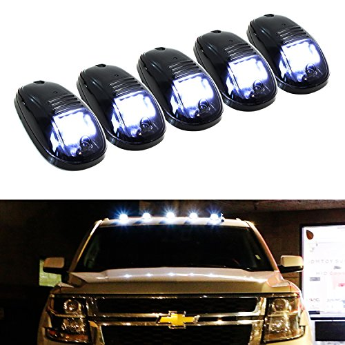 2500 Truck Marker (iJDMTOY 5pcs White LED Cab Roof Top Marker Running Lights For Truck SUV 4x4 (Black Smoked Lens Lamps))