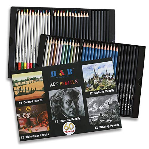 Assorted Pencil Set - Tinpa Premium Art Pencils Pack – 60 Assorted Pencil Set for Coloring Pages & Books – Colored, Watercolor, Drawing, Charcoal and Metallic Color Pencils for Students, Kids & Adults School Supplies