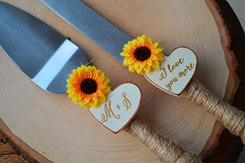 Sunflower Wedding Cake Knife Personalized Wedding Cake Cutter Fall Wedding Cake Cutting Set 2 This sunflower wedding cake knife features twine wrapped handles, silk sunflowers and are customized with two wood burned hearts with your initials and dat