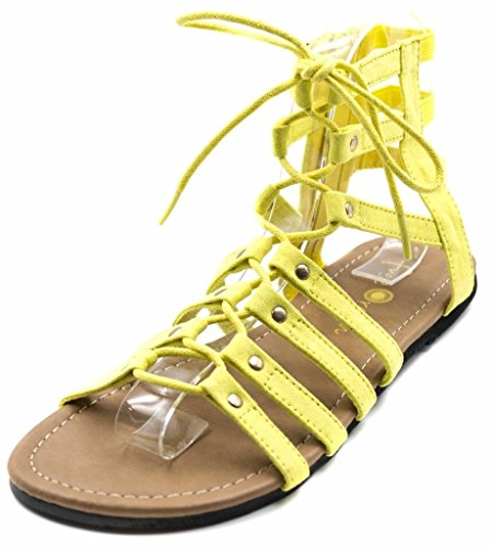 Orly Shoes Women's Wide Width Strappy Lace Up Gladiator Sandal in Yellow Size: 7W