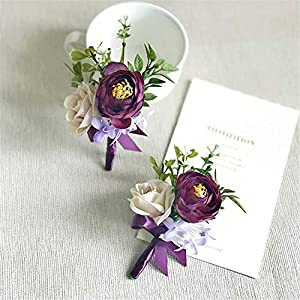 Lovgrace Boutonniere for Men Wedding Wrist Corsage Groom Bride Wedding Silk Flowers Accessories Prom Suit Decoration 1 Set 77