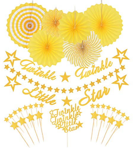 (Twinkle Twinkle Little Star Decorations Banners   Star Garland   Star Cake Topper   for Wedding Birthday Baby Shower Holiday Party Decoration)
