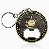 United States Marine Corps Devil Dog Bottle Opener USMC Semper Fidelis Military Challenge Coin