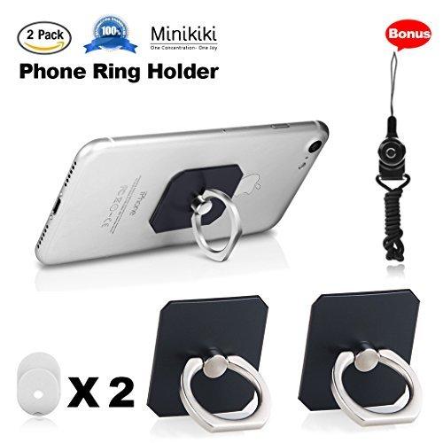 MiniKIKI Phone Finger Holder, 2 Packs Phone Ring Stand Holder, Smartphone Holder, Phone Ring Holder, 360° Rotation Phone Finger Grip, Phone Kickstand, 1 Lanyard As Bonus, for Phone, iPad (Black)
