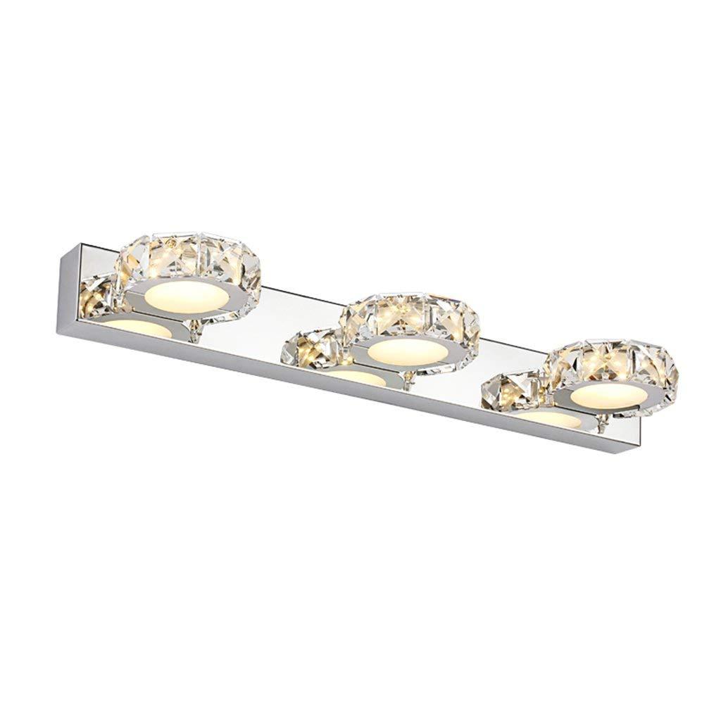 Mode Led-Spiegel Vordere Lampe, Crystal Edelstahl Bad Wc Badezimmer Wasserdicht Wand Leuchte Make-Up-Lampe Länge 32 Cm 46 Cm (Farbe  Weiss, Größe  3 Kopf)