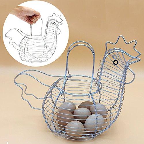 KINGSO Wire Egg Basket,decorative egg holder,metal storage baskets,Egg Storage Basket Chicken Shape Collecting Holder Gift Suitable For Fruit,Vegetable In Kitchen silver