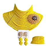 aczuv 25 Rows 4mm Crystal Beaded African Beads Jewelry Set Nigerian Wedding Necklace (Yellow)