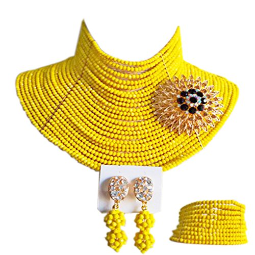 aczuv 25 Rows 4mm Crystal Beaded African Beads Jewelry Set Nigerian Wedding Necklace (Yellow) by aczuv
