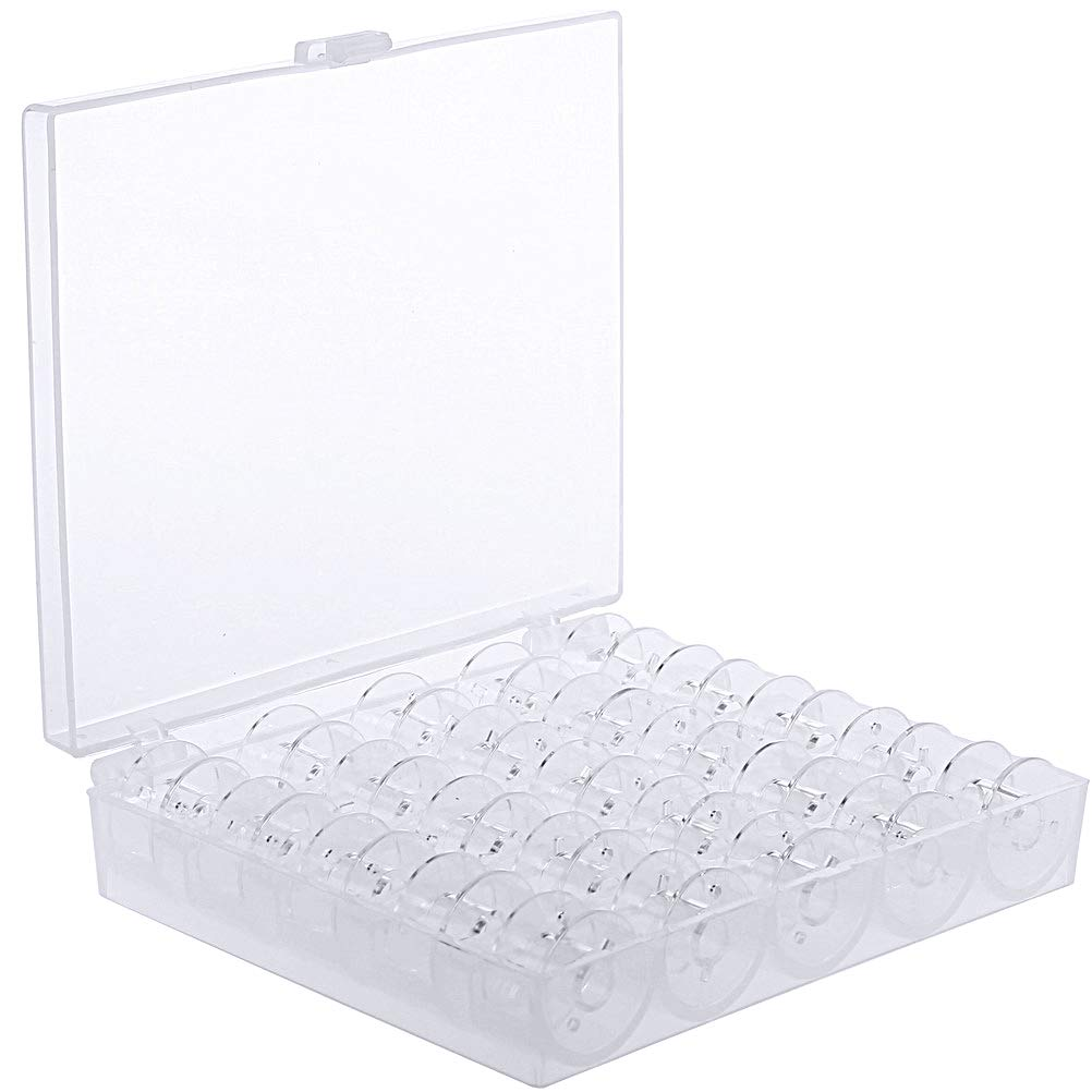 SUMAJU 25 Pcs Plastic Sewing Machine Bobbins with Storage Case for Brother Babylock Janome Kenmore (Transparent) 4336935002