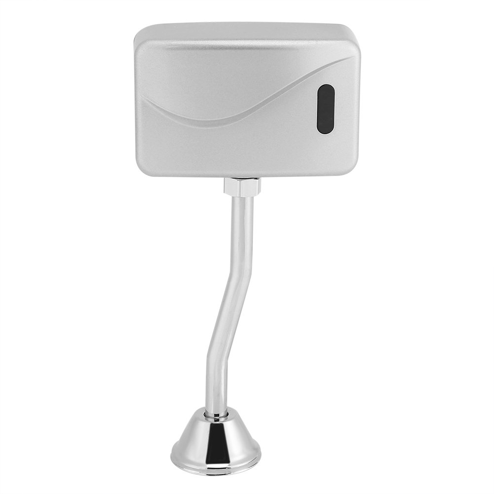 Toilet Urinal Valve, DC 6V Bathroom Toilet Exposed Wall Mounted Automatic Sensor Touchless Urinal Flush Valve (Battery Not Included)