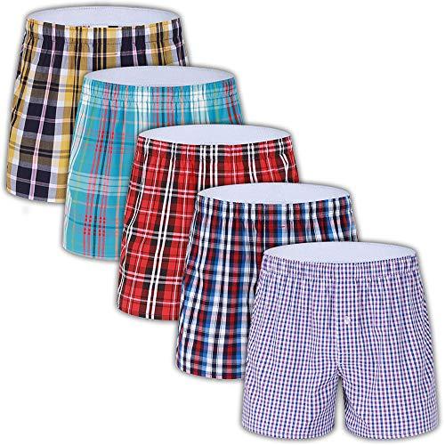 5-Pack Men's Colorful Woven Boxer Underwear 100% Cotton Premium Quality Shorts ()