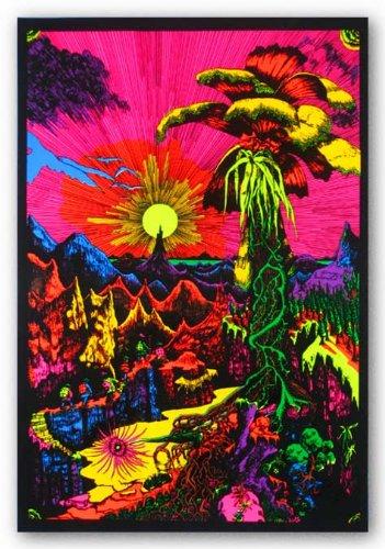24x36 Lost Horizon Landscape Flocked Blacklight Poster Print