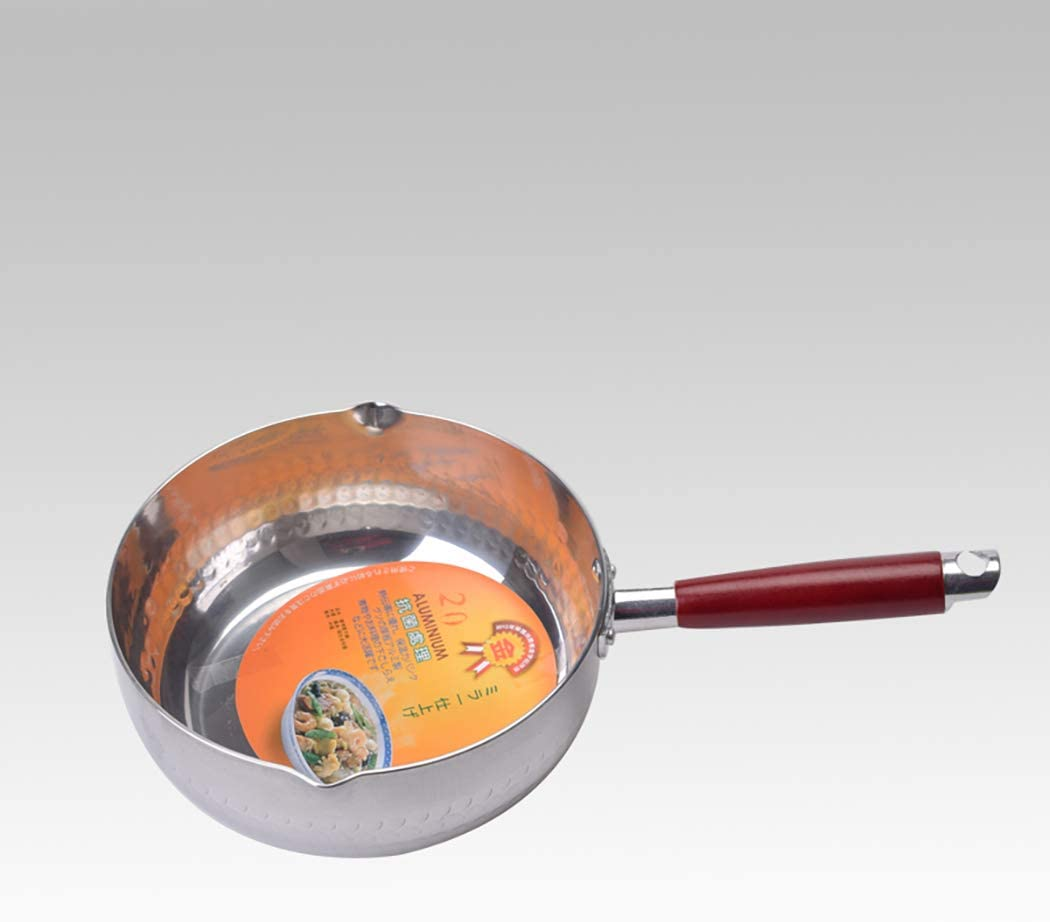 18cm compound bottom silver stainless steel Japanese style snow pan small milk boutique easy to use cooking pot noodle cooker induction cooker available(Size: 7.1 inches long x 2.9 inches high)