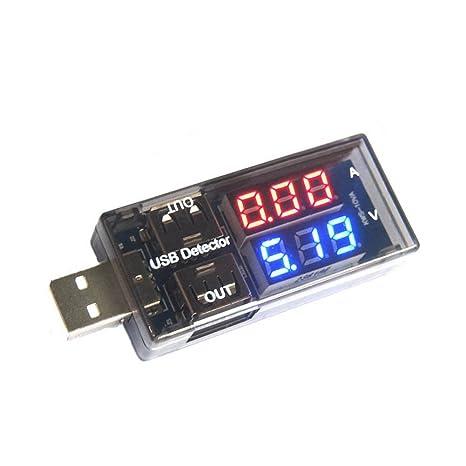 Alextry - Medidor de Voltaje de Corriente USB para medidor de batería, Detector de energía